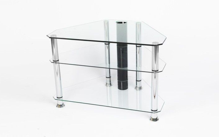 "Preferred Iconic Tv Stands Inside Iconic Clear Glass Tv Stand – Up To 32"" – Gamba Clr (View 13 of 20)"