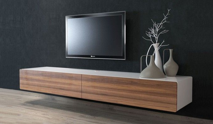 Preferred Ikon White + Walnut Floating Tv Unit – 220Cm … (View 10 of 20)