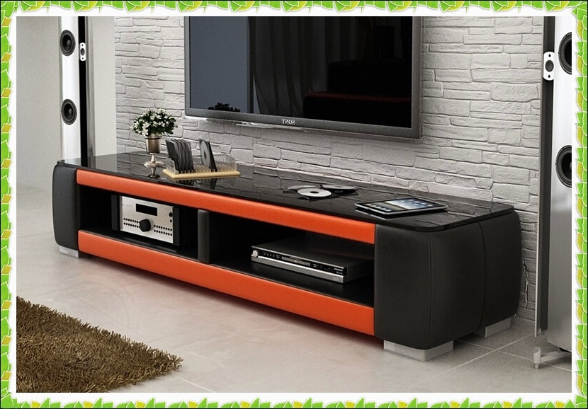 Preferred Luxury Tv Stands Inside Luxury Black Orange Leather Tv Stands Hot Selling In Tv Stands From (View 4 of 20)