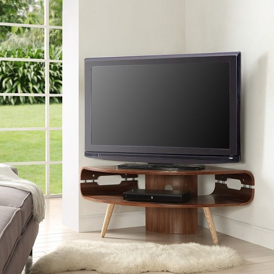 Preferred Marin Corner Tv Stand In Walnut And Solid Ash Spindle Shape Legs In Intended For Modern Corner Tv Units (View 1 of 20)