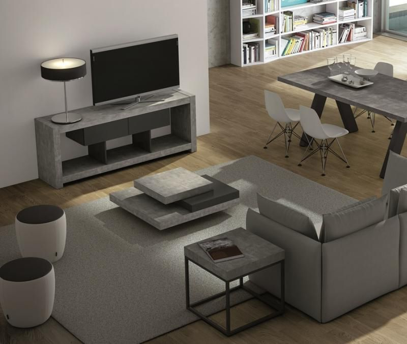 Preferred Matching Tv Unit And Coffee Tables For Temahome Slate  Square Coffee Table In Concrete/ Pure Black In  (View 16 of 20)
