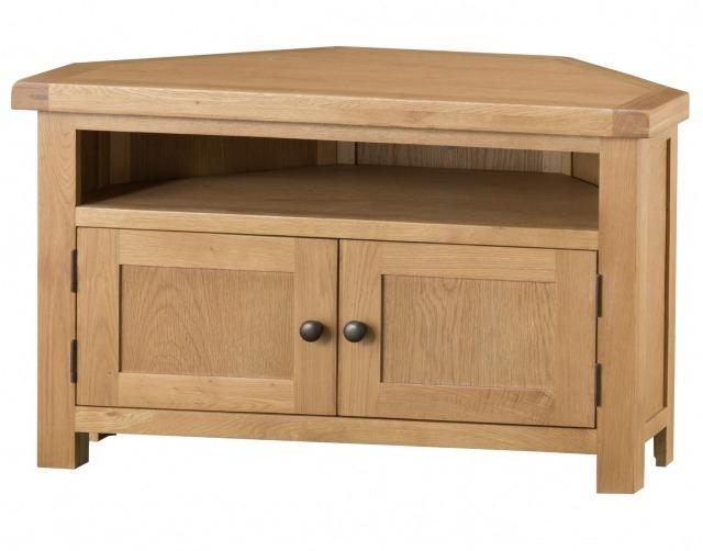 Preferred Oak Corner Tv Stands Inside Light Rustic Oak Corner Tv Unit – Corner Tv Stands – Furniture World (View 16 of 20)