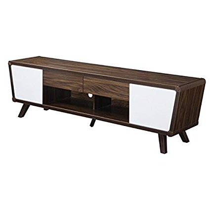 "Preferred Rowan 74 Inch Tv Stands Pertaining To Amazon: Pemberly Row 74"" Tv Stand In Chestnut And Glossy White (View 14 of 20)"