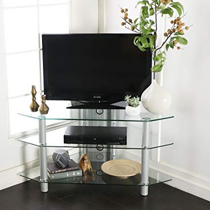 Preferred Silver Corner Tv Stands With Regard To Amazon: 44 Inch Glass And Metal Corner Tv Stand, Clear Glass And (View 13 of 20)