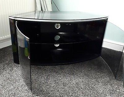 Preferred Techlink Bench Corner Tv Stands Regarding Techlink Bench Black Corner Tv Stand (Smoked Glass Top & Doors (View 11 of 20)