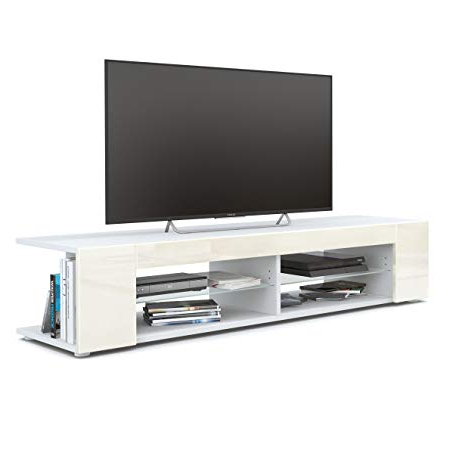 Preferred Tv Unit Stand Movie, Carcass In White Matt / Front In Cream High With Regard To Cream High Gloss Tv Cabinets (View 16 of 20)