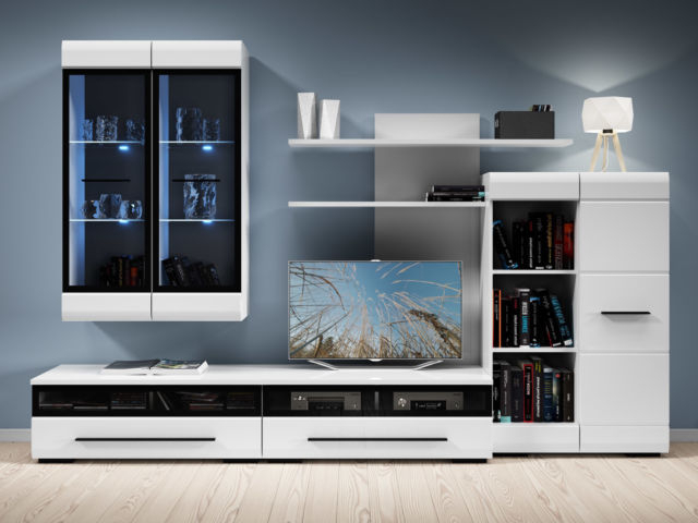 Preferred White Gloss Modern Living Room Furniture Set Led Wall Unit Tv Inside Tv Cabinets And Wall Units (View 10 of 20)