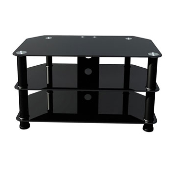 "Premier Av Av002 Black Polished Glass Stand For 42"" Tv Lcd Led Throughout 2018 Black Glass Tv Stands (View 17 of 20)"