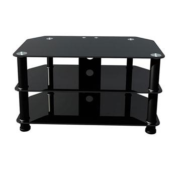 """Premier Av Av002 Black Polished Glass Stand For 42"""" Tv Lcd Led Throughout 2018 Black Glass Tv Stands (View 20 of 20)"""