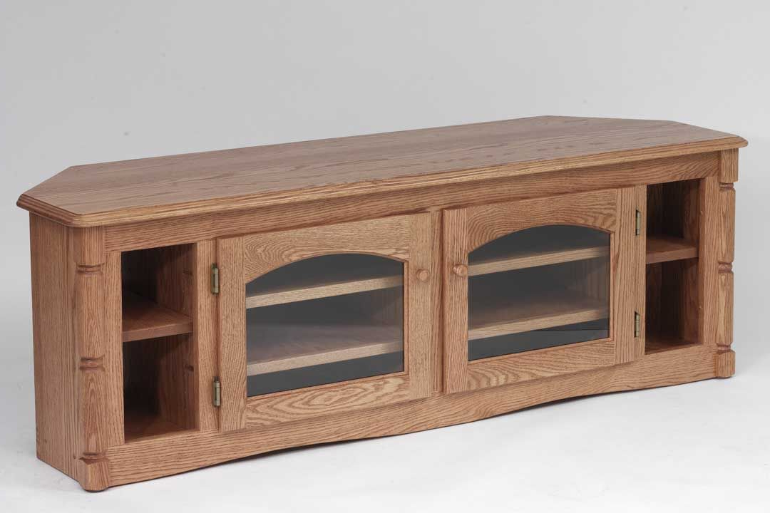 Real Wood Corner Tv Stands Throughout Current Custom Solid Wood Tv Stand Country Oak Plasma Lcd Corneroak (View 15 of 20)