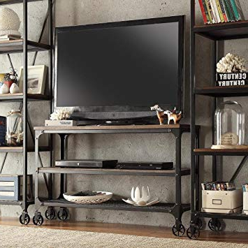 Recent Amazon: Modhaus Living Modern Industrial Rustic Riveted Black With Metal And Wood Tv Stands (View 13 of 20)