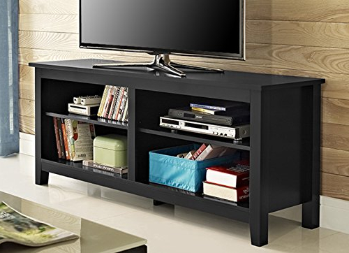 "Recent Amazon: We Furniture 58"" Solid Wood Tv Stand Console, Black Throughout Solid Wood Black Tv Stands (View 18 of 20)"