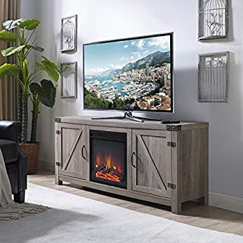 Recent Amazon: We Furniture Az58fp4dwwo Fireplace Tv Stand, White Oak For Kilian Grey 74 Inch Tv Stands (View 9 of 20)