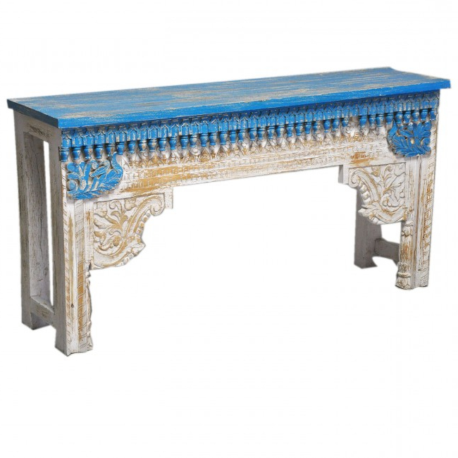 Recent Antique Indian Hand Carved White Blue Console Hall Table Within Hand Carved White Wash Console Tables (Gallery 6 of 20)