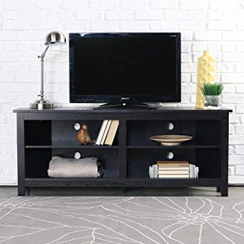 """Recent Black Corner Tv Cabinets Within Amazon: We Furniture 58"""" Wood Corner Tv Stand Console, Black (View 18 of 20)"""