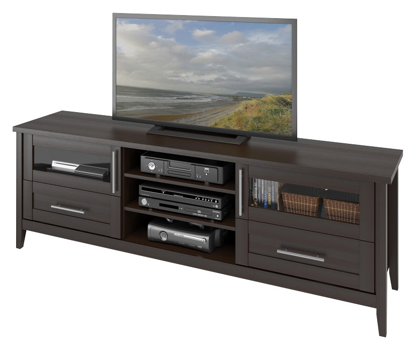 """Recent Corliving Tv Stand For Most Flat Panel Tvs Up To 80"""" Brown Tjk 687 B Throughout Tv Stands For Large Tvs (View 12 of 20)"""
