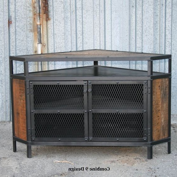 Recent Custom Vintage Industrial Tv Stand Corner Unit Steel Reclaimed Wood Throughout Industrial Corner Tv Stands (Gallery 6 of 20)