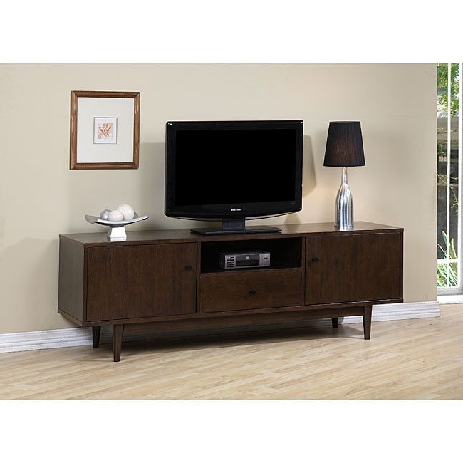 Recent Dark Walnut Tv Stands Within Modern Entertainment Center Tv Stand In Dark Walnut Finish (View 16 of 20)