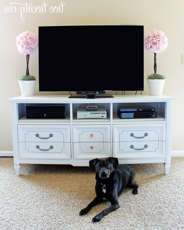 Recent Dresser Turned Tv Stand – Two Twenty One With White Painted Tv Cabinets (Gallery 15 of 20)
