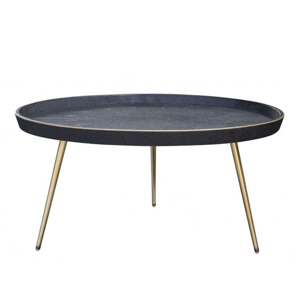 Recent Grey Shagreen Media Console Tables In Josephine Coffee Table – Black Shagreen – Brass (Gallery 3 of 20)