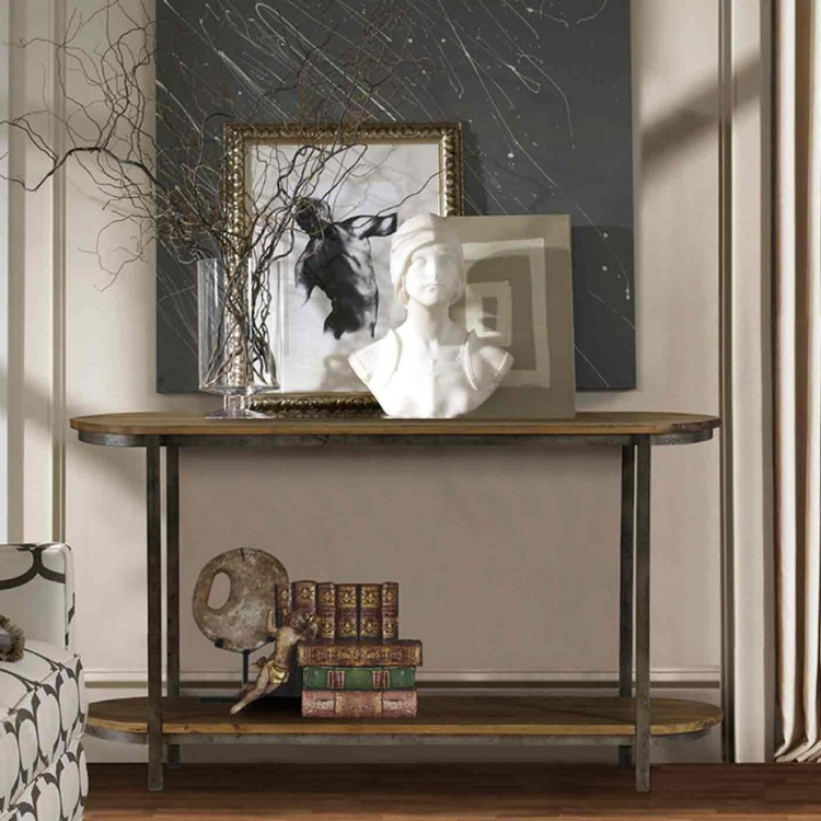 Recent Gunmetal Media Console Tables Within Barstow Pine Top Console Table With Gunmetal Frame – Boulevard Urban (View 15 of 20)