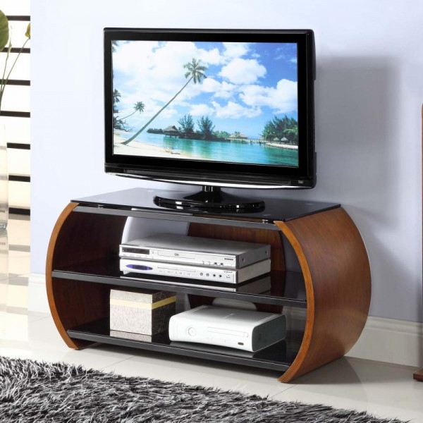 Recent Jual Jf208 Curve Walnut Av Stand 100Cm Intended For Tv Unit 100Cm (Gallery 7 of 20)