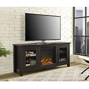 "Recent Kilian Grey 60 Inch Tv Stands With Regard To Amazon: We Furniture 58"" Wood Fireplace Tv Stand Console (View 20 of 20)"