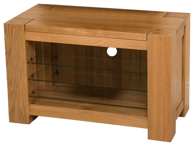Recent Kuba Chunky Solid Oak Tv Cabinet, Small – Modern – Tv Stands & Units Throughout Chunky Wood Tv Units (Gallery 13 of 20)