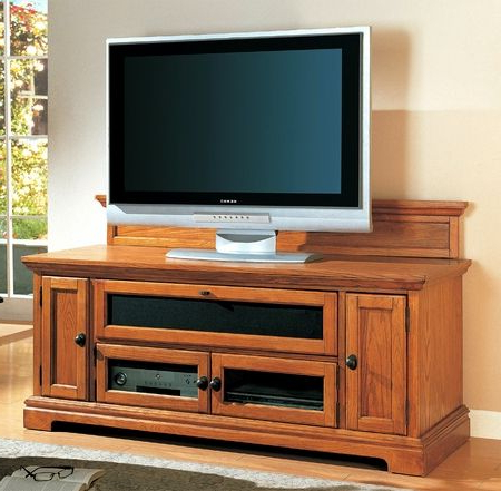 Recent Modern Style Wood Honey Oak Tv Stand Media Center Living Room On With Regard To Honey Oak Tv Stands (Gallery 5 of 20)