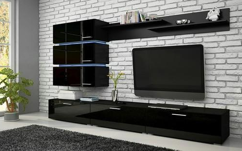 Recent Modern Tv Unit In Black High Gloss Finish At Rs 65000 /number (View 16 of 20)