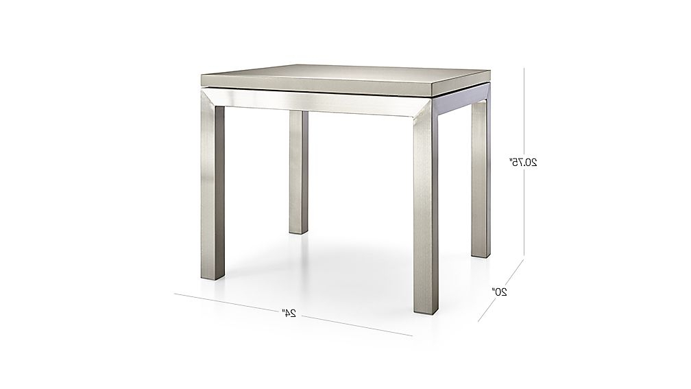 Recent Parsons Grey Solid Surface Top/ Stainless Steel Base 20x24 End Table With Regard To Parsons Grey Solid Surface Top & Brass Base 48x16 Console Tables (View 4 of 20)