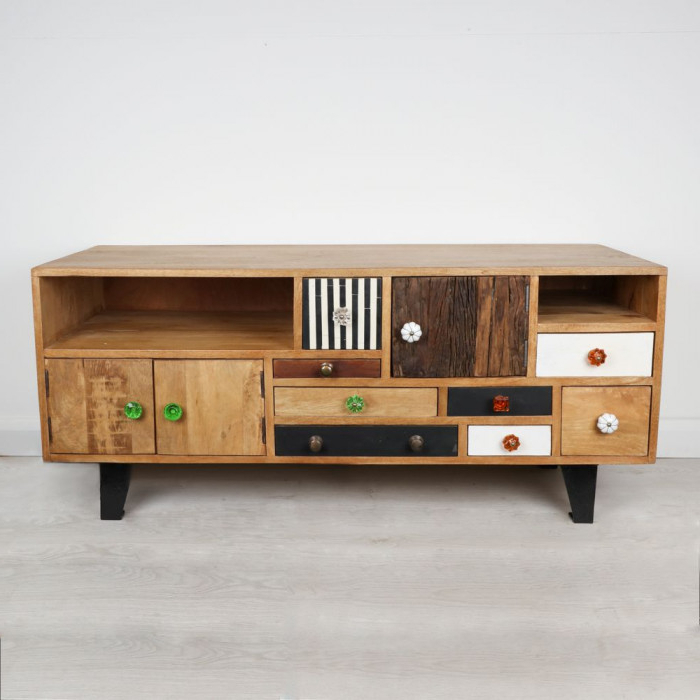 Recent Retro Style Eclectic Texture Tv Stand And Entertainment Cabinet Within Mango Wood Tv Stands (Gallery 4 of 20)