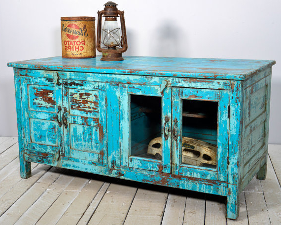 Recent Sale Media Console Tv Stand Vintage Acid Washed Bright Jodhpur Intended For Blue Tv Stands (Gallery 7 of 20)