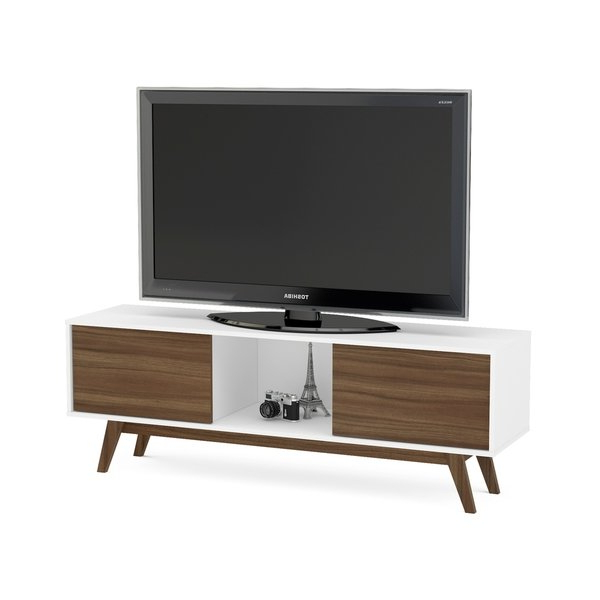 Recent Shop Boahaus White/ Walnut Wood 2 Closed Compartments Tv Stand – On Pertaining To White Contemporary Tv Stands (Gallery 20 of 20)