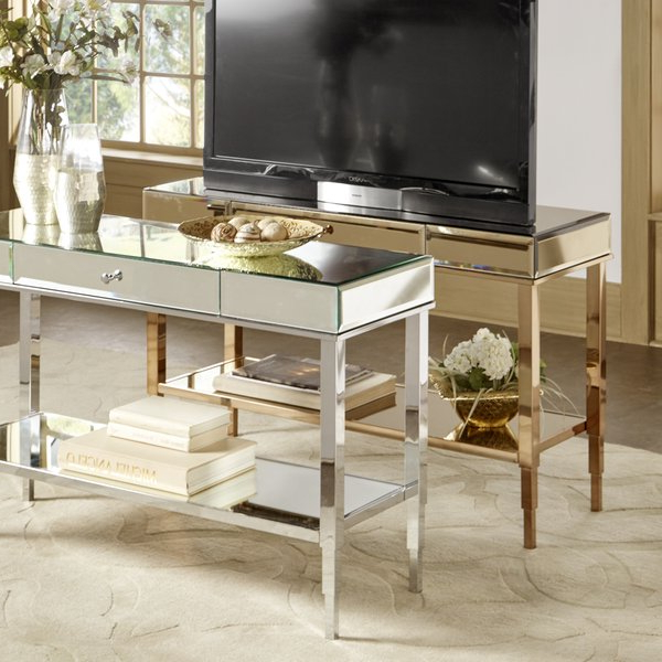 Recent Shop Camille Glam Mirrored Tv Stand Console Table With Drawer Pertaining To Mirrored Tv Stands (View 9 of 20)