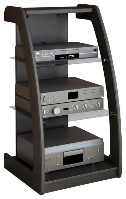 Recent Sonax Tv Stands With Regard To Sonax Milan Black Three Shelf Component Stand – Contemporary – Tv (View 11 of 20)