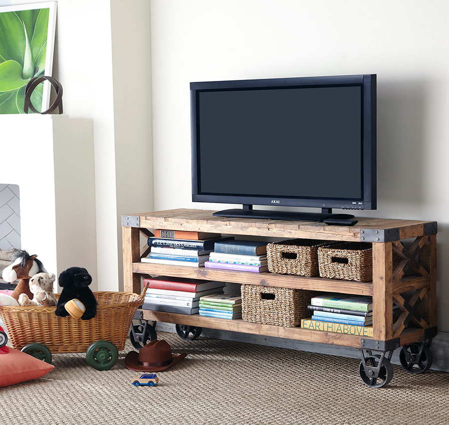 Recent Wooden Tv Stand With Wheels Regarding 35 Supurb Reclaimed Wood Tv Stands & Media Consoles (View 14 of 20)