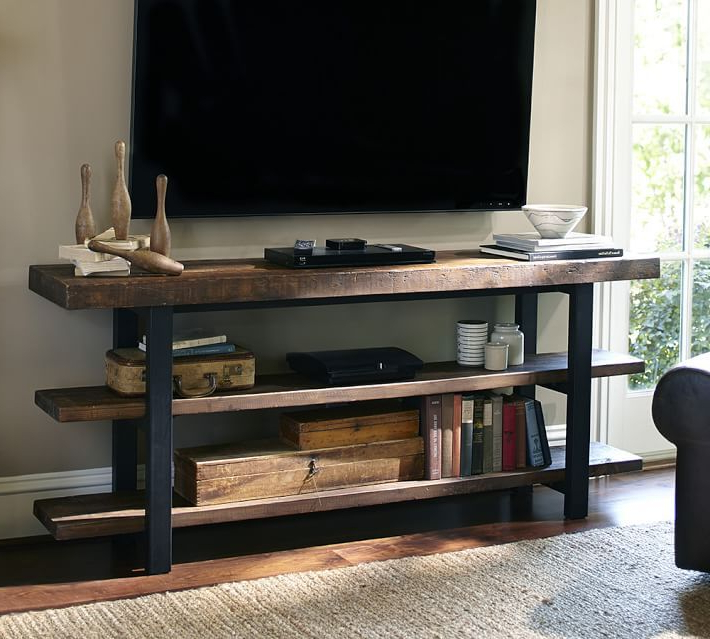 Reclaimed Wood And Metal Tv Stands Pertaining To Widely Used Griffin Reclaimed Wood Media Console In 2019 (Gallery 3 of 20)