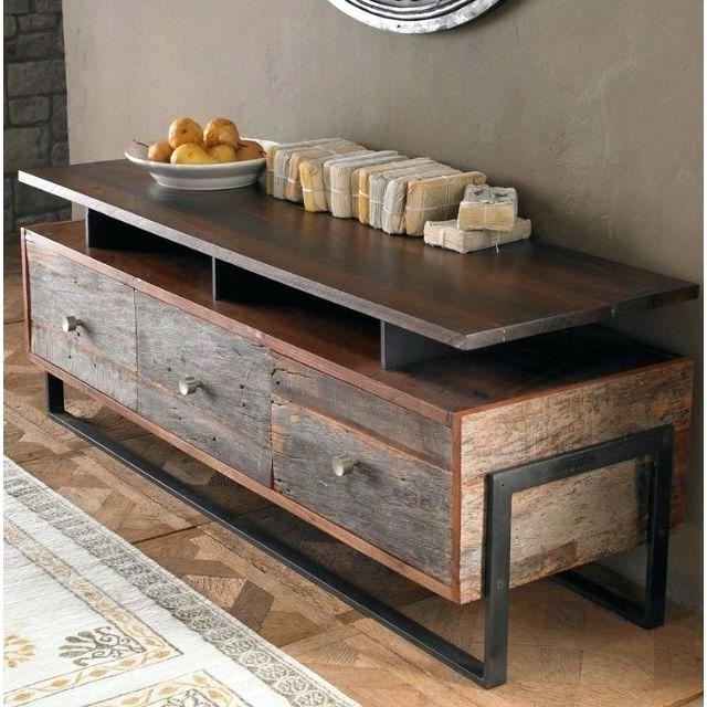 Reclaimed Wood And Metal Tv Stands Throughout Latest Rustic Metal Tv Stand Metal Media Console Modern Industrial Media (View 18 of 20)