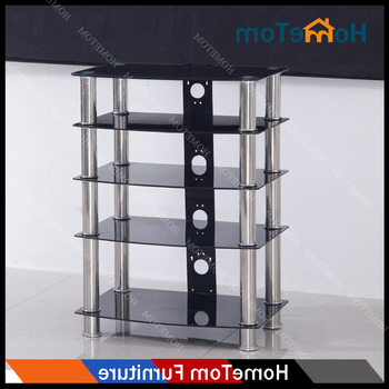 Rectangular Tv Stands Pertaining To Recent Modern Black Tempered Glass Rectangular Tv Stand Stainless Steel (View 14 of 20)