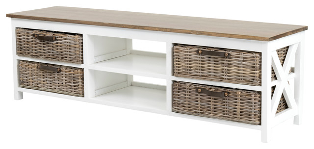 Rectangular Tv Stands Within Trendy East At Main's Lovell White Rectangle Mahogany Tv Stand – Beach (View 17 of 20)