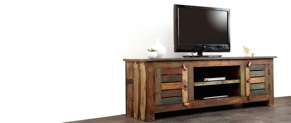 Recycled Wood Tv Stands Intended For Most Current Mayotte Recycled Wood Tv Stand – Miliboo (View 7 of 20)