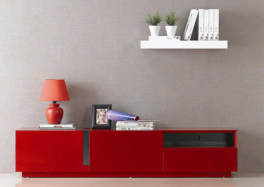 Red Gloss Tv Cabinets Within Trendy Modern Furniture And Mattress Outlet (Gallery 11 of 20)