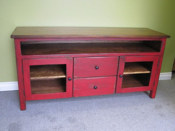"Red Tv Stands Regarding Well Known Red Tv Stand / Wooden 60"" Long Tv Console / Cottage Entertainment (Gallery 12 of 20)"