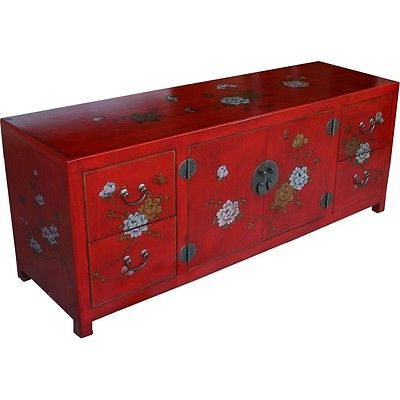 Red Tv Units Pertaining To 2017 Large Red Tv Cabinet Low Sideboard Red Flower And Bird Painted (tc (View 6 of 20)