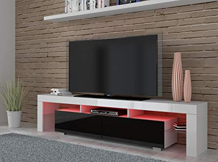 Red Tv Units Regarding Well Liked White + Black High Gloss Tv Unit – 190 Cm Wide – Red Led Lights (View 9 of 20)