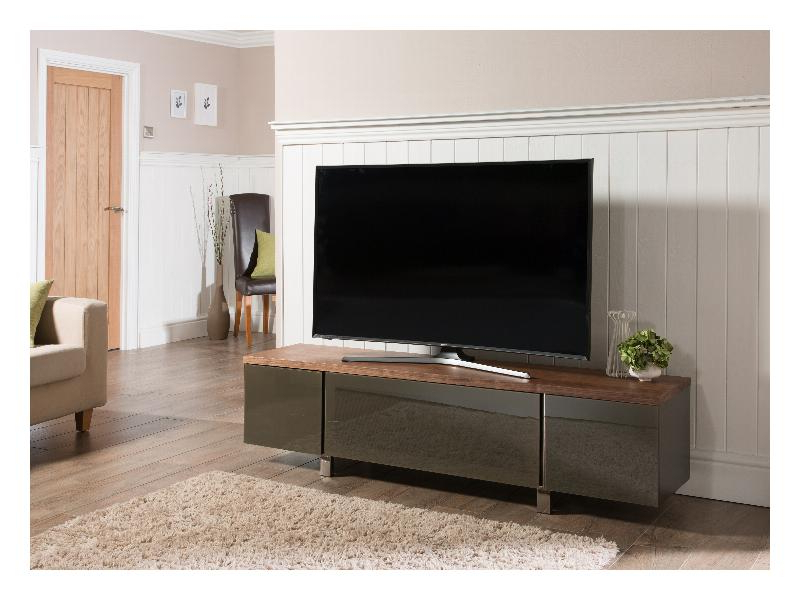 Regent 1800 Walnut And Grey Glass Tv Stand (Gallery 15 of 20)