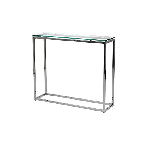 Remi Console Tables Regarding Best And Newest Amazon: Euro Style Sandor Clear Glass Top Console Table, Chromed (Gallery 3 of 20)