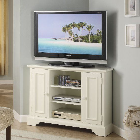 Riverside Splash Of Color 44 In. Corner Tv Stand Tall – Shores White Pertaining To Widely Used Tall Tv Cabinets Corner Unit (Gallery 3 of 20)