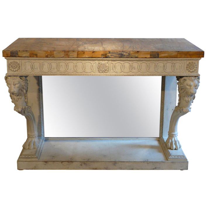 Roman Metal Top Console Tables Intended For Latest A Lacquered Console Table With Decoration Of Lion's Heads And Paw (View 20 of 20)
